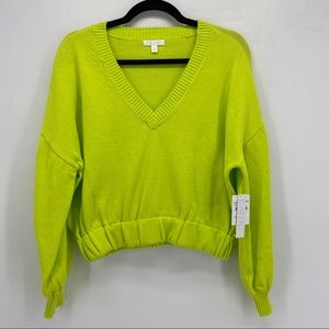 Abound Citron Yellow V Neck Cropped Sweater New